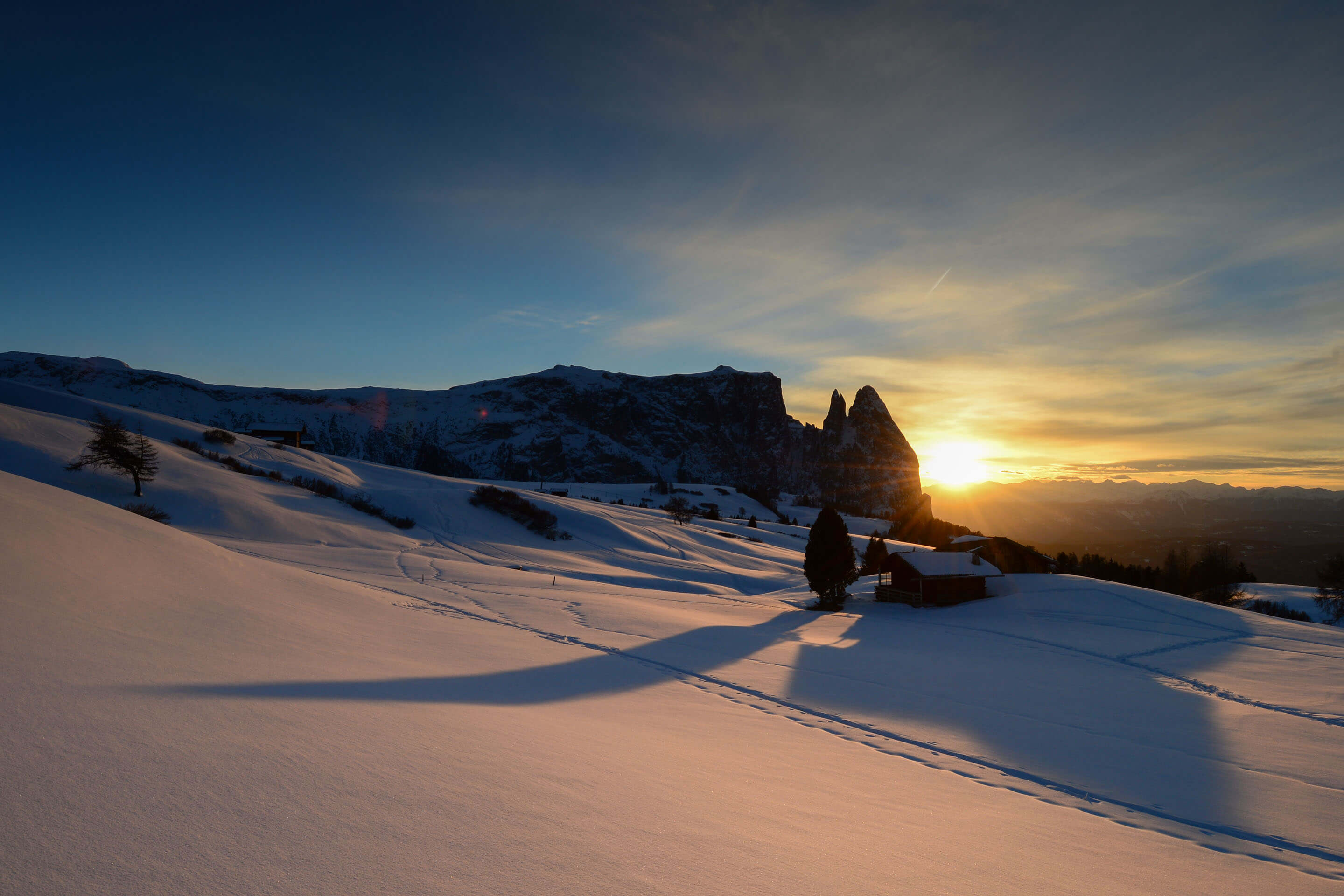 Paradise for winter lovers at Alpe di Siusi in the heart of the Dolomites