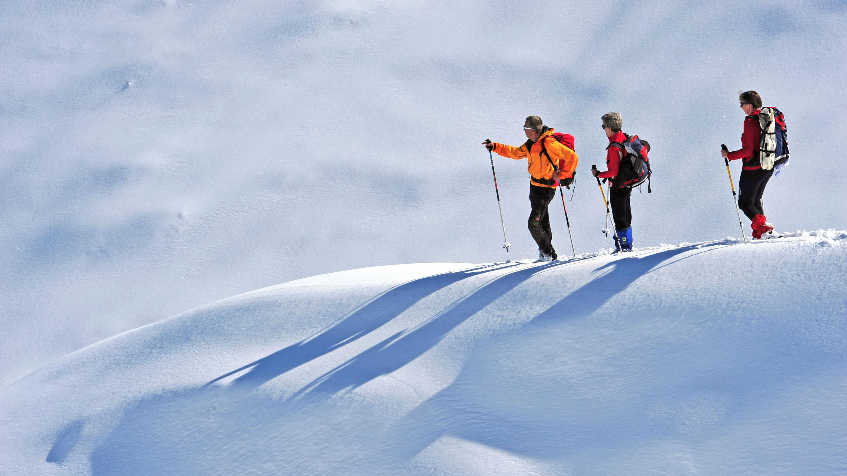 "2Snow shoe experts in the winter of the Dolomites ""Room with a view for Dolomite lovers at Artnatur Dolomites Hotel & Spa"""